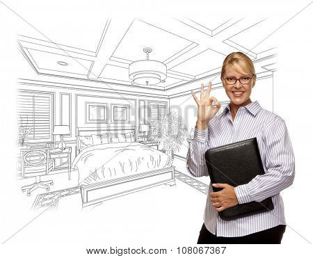 Woman with Okay Sign Over Beautiful Custom Bedroom Drawing Photo Combination. The framed art is photographer's copyright.