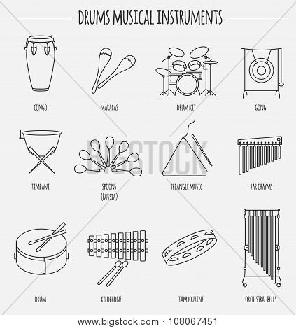 Musical instruments graphic template. Drums