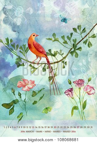 Vintage 2016 Wall Calendar With Watercolor Birds And Flowers; March