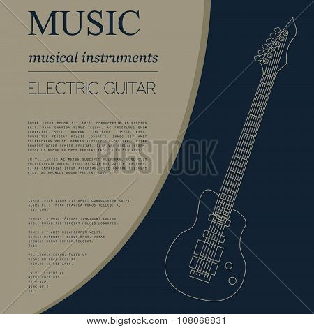 Musical instruments graphic template. Electric guitar