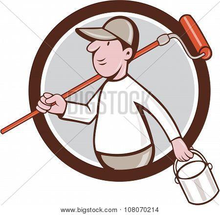 House Painter Paint Roller Can Circle Cartoon
