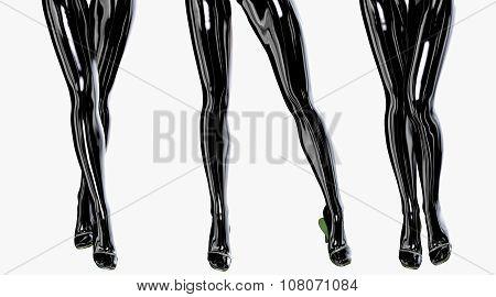 Sexy slim female legs in dark stockings.