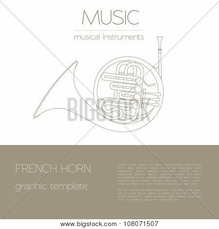 Musical instruments graphic template. French horn