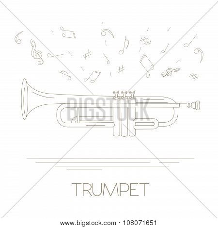Musical instruments graphic template. Trumpet.