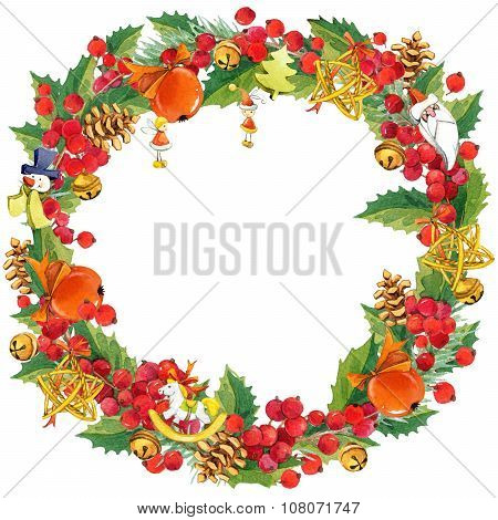 Watercolor Christmas wreath on white background.  Christmas frame with mistletoe, berries and Christ