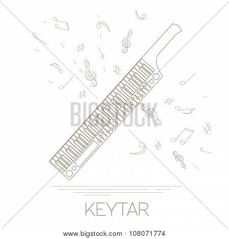 Musical instruments graphic template. Keytar.