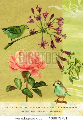 Vintage 2016 Wall Calendar With Watercolor Birds And Flowers; May