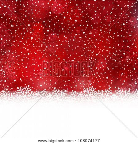 White snow flake border at the bottom of a red abstract background with blurry light dots and snow fall.