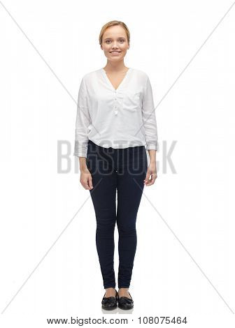 female, gender, fashion and people concept - smiling young woman or teenage girl in white shirt and jeans