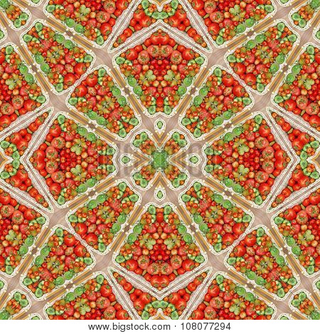 Background From Tomatoes. Pattern, Ornament, Kaleidoscope.