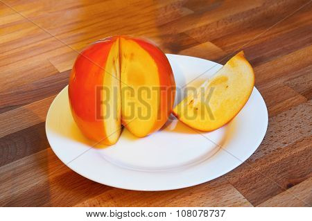 Asian Juicy Orange Persimmon Closeup