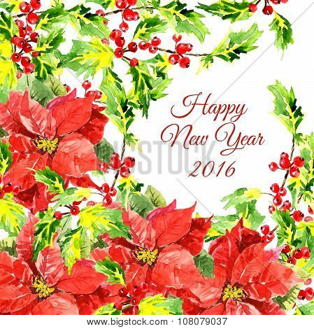 Christmas background with cool red flowers and holly leaves