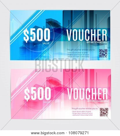 Vector illustration set ,Gift voucher template with clean and modern pattern.