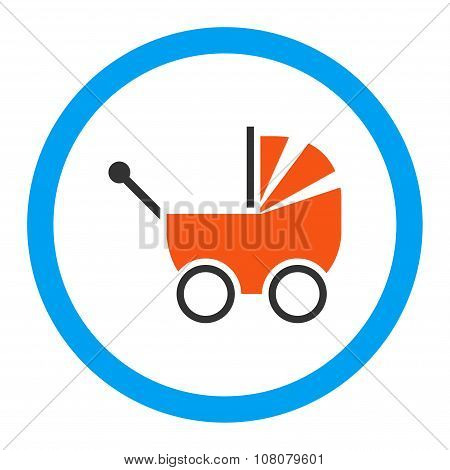 Baby Carriage Rounded Glyph Flat Icon