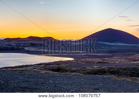 Volcanic landscape at sunset