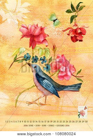 Vintage 2016 Wall Calendar With Watercolor Birds And Flowers; June