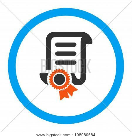 Certified Scroll Document Rounded Glyph Icon