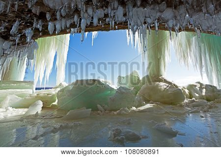 Icicles in Cave - Grand Island Ice Curtains On Lake Superior - Munising, Michigan