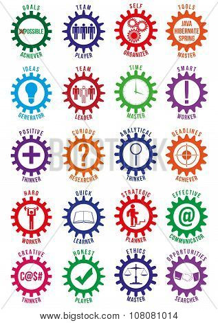 Colored Employee Best Traits Vector Badges