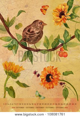 Vintage 2016 Wall Calendar With Watercolor Birds And Flowers; October
