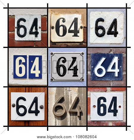 Number 64 sign
