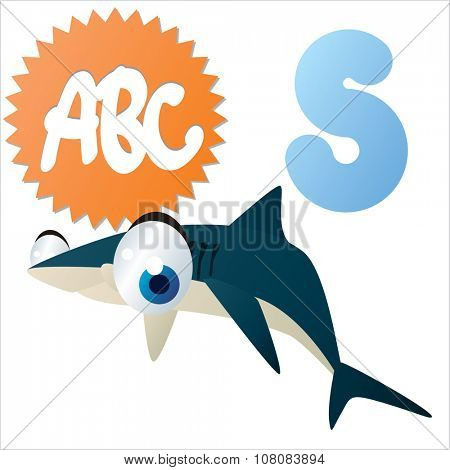 vector funny comic animal alphabet: S is for Shark