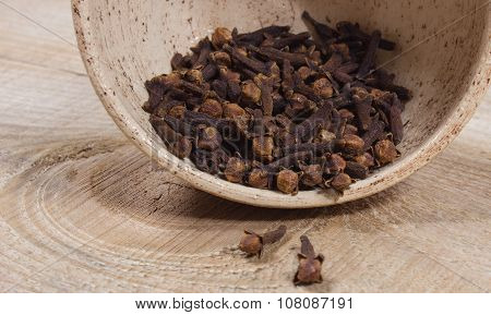 Cloves On A Wood Board.