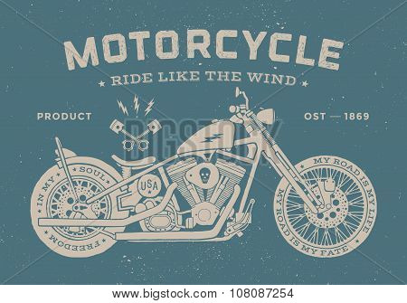 Vintage race motorcycle old school style. Poster and print for t-shirt. Vector illustration.