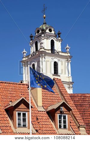 Church Of St. John And Flag Of Eu, Vilnius, Lithuania