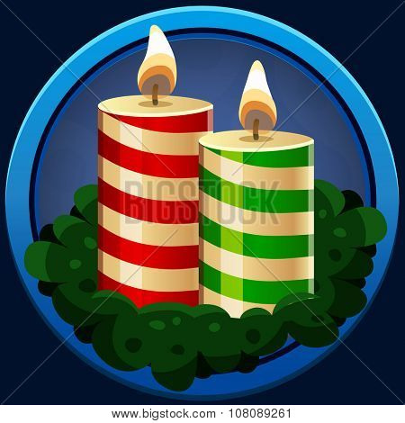 Christmas candles icon. Vector illustration