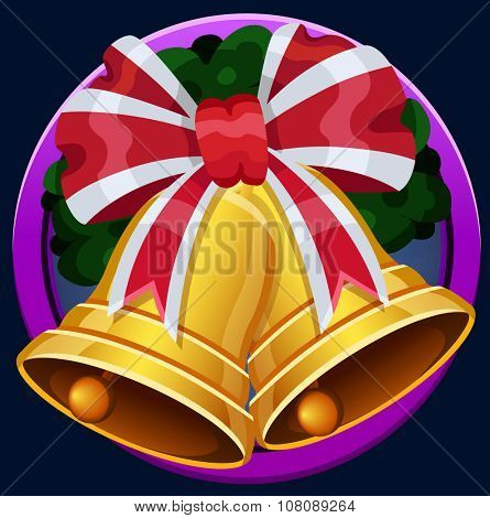 Christmas bell icon. Vector illustration