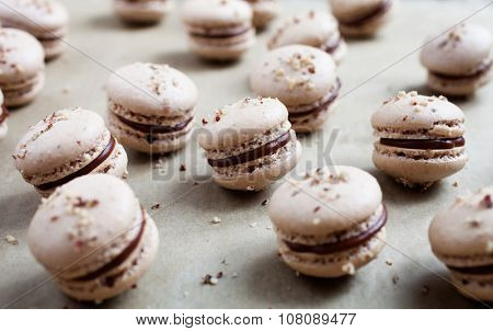Baking macaroons with nuts and chocolate