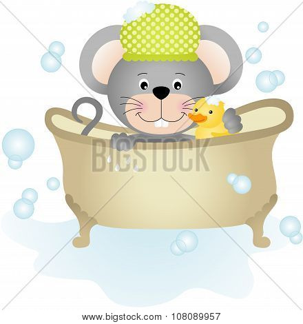 Mouse taking a bath