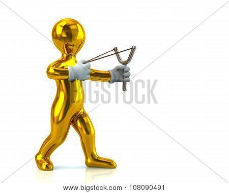 Golden Man Aiming Slingshot