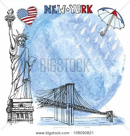 New York landmark.Watrcolor splash,rein,umbrella