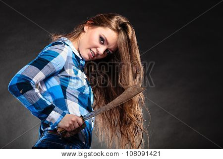 Pretty Strong Woman Holding Machete.