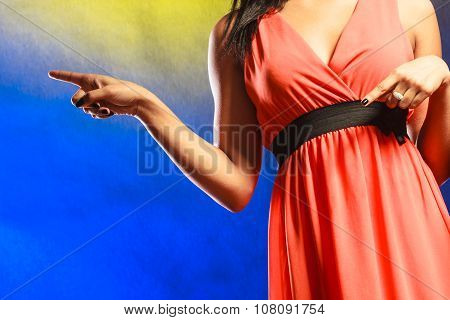 Woman Part Body In Evening Dress.