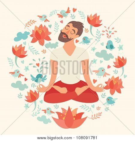 Mustached bearded man in the lotus position