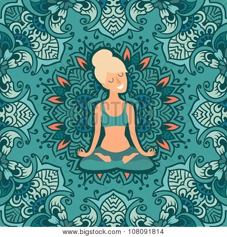 Beautiful girl in the lotus position