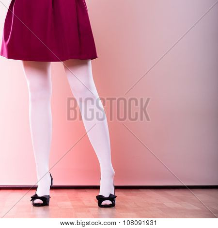 Fashion Woman Legs In White Pantyhose