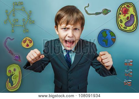 boy screaming businessman clenched fists opened his mouth to fig