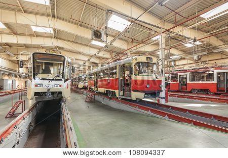 Moscow/russia - June , 2014; Tram Inside The Depot. Krasnopresnenskaya Tram Depot, Strogino.