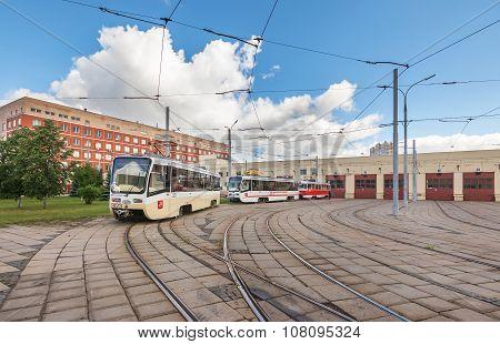 Moscow/russia - June , 2014; Tram Depot Exterior. Krasnopresnenskaya Tram Depot, Strogino.