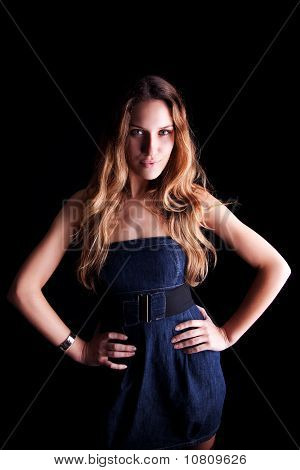 Beautiful Woman With Elegant Dress , Isolated On Black, Studio Shot