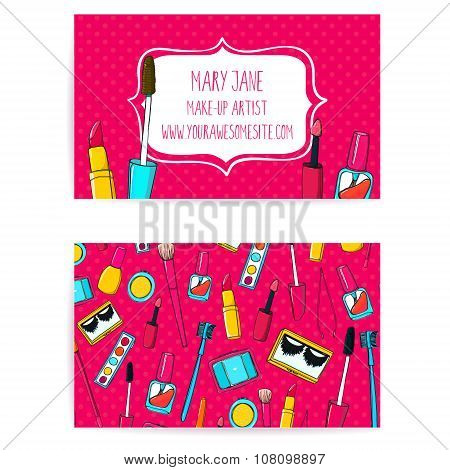 Colorful make up artist business card template. Vector layout with hand drawn illustrations of nail