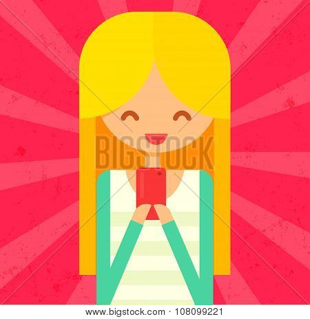 Happy blonde girl hanging pink phone. flat vector illustration with character.