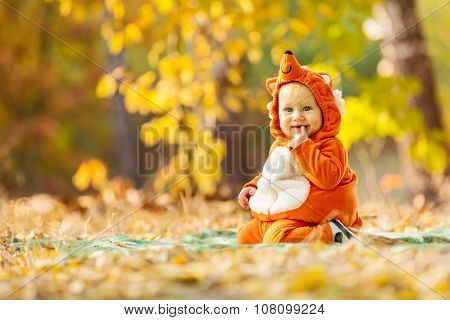 Cute baby boy dressed in fox costume.
