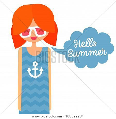 Happy redhair girl in big hipster glasses and nautical t-shirt with anchor says hello summer in spee