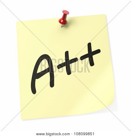 Letter A With Two Plus Sign Yellow Sticky Note