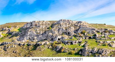 Rupestrian Church, Historic Building. Sassi Of Matera. Basilicata Under Blue Sky